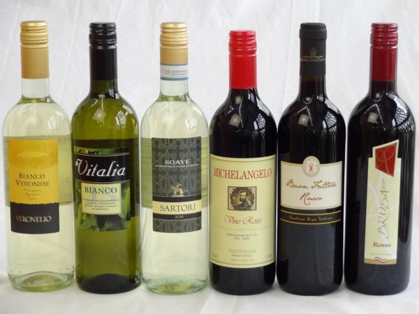イタリア赤白ワイン6本セット ミケランジェロ赤・ブルーサ 赤_画像1