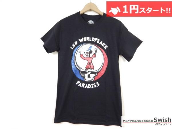 A895●P4R4DIS3●新品 LSD WORLD PEACE Tシャツ ① S 黒●
