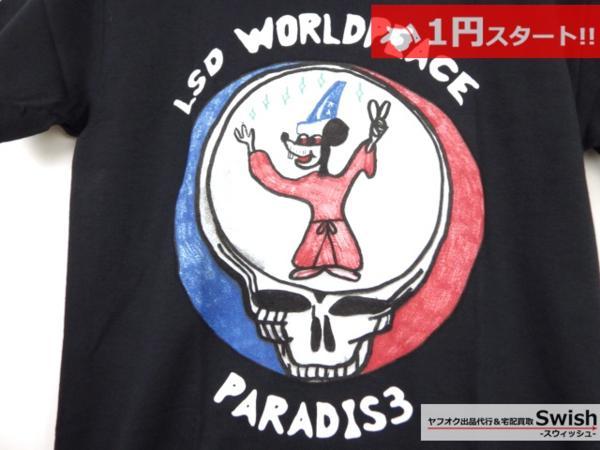 A895●P4R4DIS3●新品 LSD WORLD PEACE Tシャツ ① S 黒●_画像2
