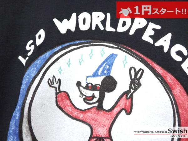 A895●P4R4DIS3●新品 LSD WORLD PEACE Tシャツ ① S 黒●_画像3
