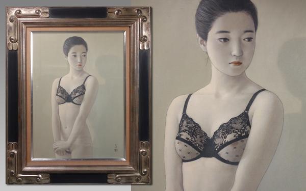 慶應◆【高塚省吾】真筆 油彩P8号裸婦画『粧い』 人気の肉筆油彩画です!