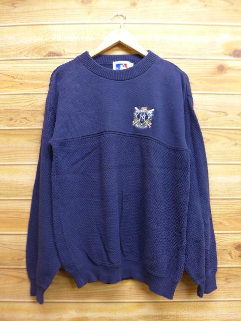 M★古着 中古 セーター 90年代 MLB ニューヨークヤンキース 刺繍 コットン USA製 紺 17jan12 グッズの画像