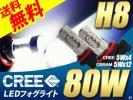 H8 CREE80W LED球 フォグランプ 白 ホワイト