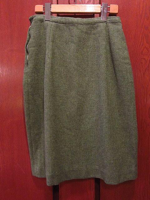 ビンテージ60's70's★ウール台形スカートモスグリーンW64cm★50's80's古着屋卸タイトスカートレトロ冬物_画像2
