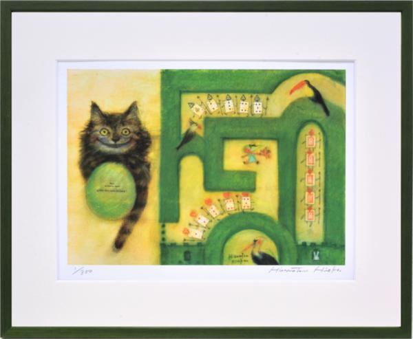 絵画 リトグラフ インテリア 壁掛け (額縁 アートフレーム付き) 久松ひろこ作 「Alice in Wonder maze」 四ッ切サイズ