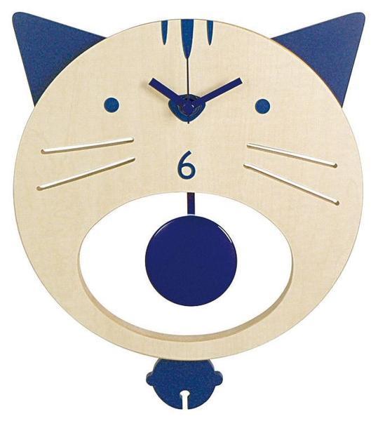 即決新品★ウォールクロック★木製振り子時計★ネコ★ブルー_画像1
