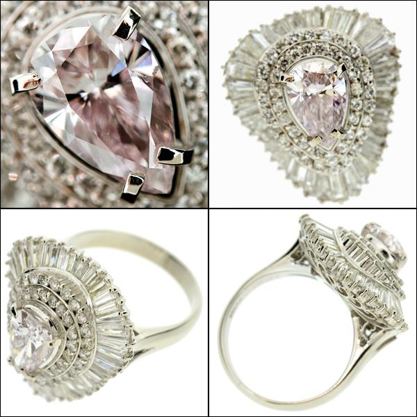 【BSJJ】Pt900 ベリーライトピンク ダイヤモンド1.081ct+2.19ct リング プラチナ 中央宝石研究所 約10号 本物_画像2