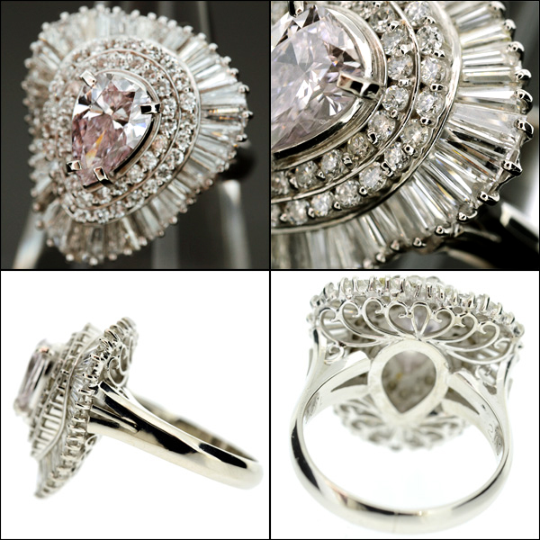 【BSJJ】Pt900 ベリーライトピンク ダイヤモンド1.081ct+2.19ct リング プラチナ 中央宝石研究所 約10号 本物_画像3