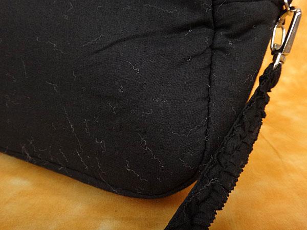 ★070595【ピンクハウス】コットン2WAYフリルロゴ入りリボン付きショルダーハンドバッグ★斜め掛け★黒★PINK HOUSE_画像6