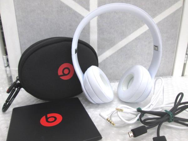 ○◆ Beats Solo3 Wireless ビーツ ソロ3 ワイヤレス オンイヤー ヘッドフォン グロスホワイト 白 オーディオ Bluetooth 動作品