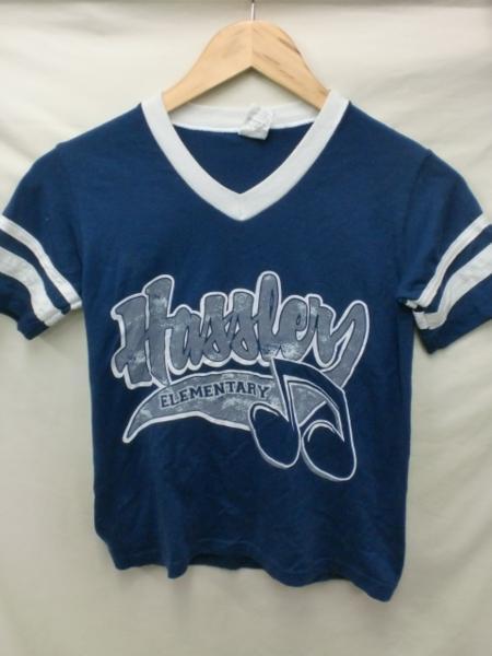 売り切りSALE!!クリックポスト185円発送可!Hassle ELEMENTARY VネックTシャツ☆USA古着一点物XS_画像1