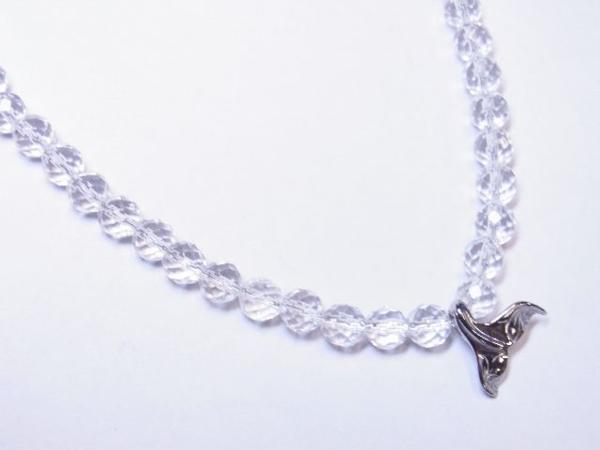 幸せを運ぶホエールテールトップ×ダイヤカット水晶クリスタルネックレス メンズ レディース ハワイアン_画像4