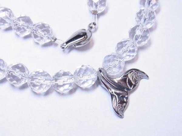 幸せを運ぶホエールテールトップ×ダイヤカット水晶クリスタルネックレス メンズ レディース ハワイアン_画像5