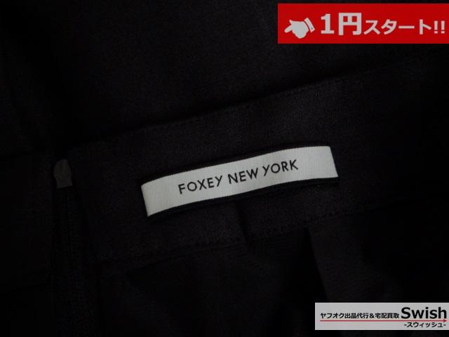 A821●FOXEY NEW YORK フォクシー●未使用 プリーツ ガウチョ パンツ 38 黒●_画像5