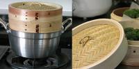 ●即決!杉蒸篭(セイロ)15cm1段鍋つきセット/竹の蒸し器