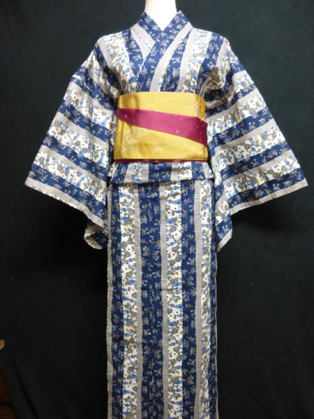 ☆オリジナル製レトロ木綿着物(ゆかた)+帯セット現品限り⑮_何色の帯でも合わせやすいです