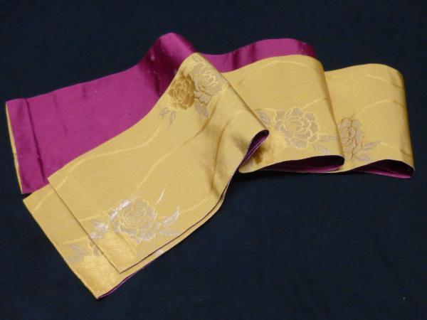 ☆オリジナル製レトロ木綿着物(ゆかた)+帯セット現品限り⑮_パール感を効かせた新しい感覚の帯です