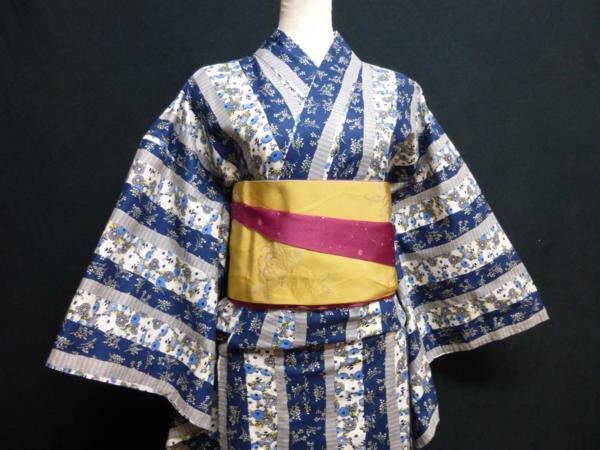 ☆オリジナル製レトロ木綿着物(ゆかた)+帯セット現品限り⑮_定番の縞柄に白×藍でスッキリ