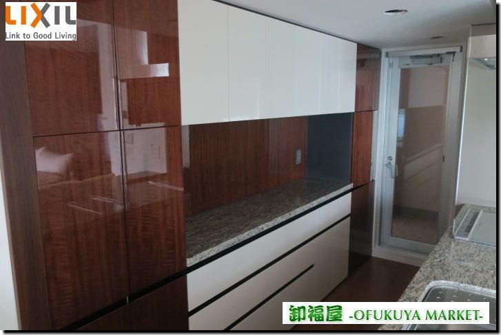 16557■LIXIL カップボード キッチン収納 バックキャビネット 大型 W3100 H1960 石天板■展示品_画像1