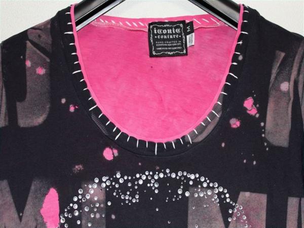 アイコニック ICONIC マイケルジャクソン レディース長袖Tシャツ ピンク Sサイズ Michael Jackson 新品_画像2