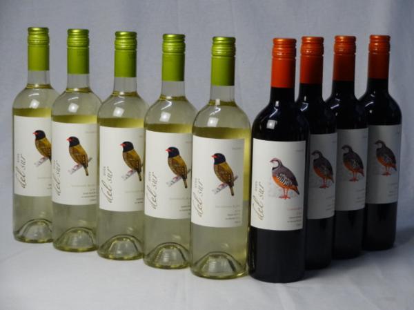 チリ白赤ワイン9本セット デル・スール カルメネール ミディ_画像1