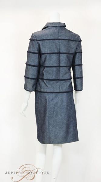 シャネル CHANEL スカート スーツ ジャケット デニム ネイビー 38_画像4
