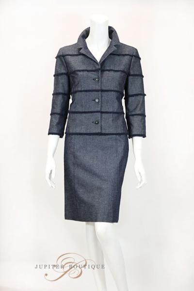 シャネル CHANEL スカート スーツ ジャケット デニム ネイビー 38_画像2