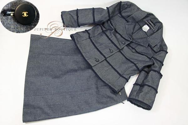 シャネル CHANEL スカート スーツ ジャケット デニム ネイビー 38_画像5