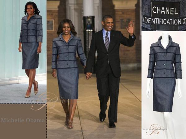シャネル CHANEL スカート スーツ ジャケット デニム ネイビー 38_画像1