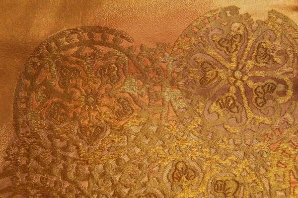 特選紫紘金焼箔華紋重ね模様未使用袋帯銀座越後屋誂えO9527_紫紘金焼箔華紋重ね模様袋帯銀座越後屋誂え