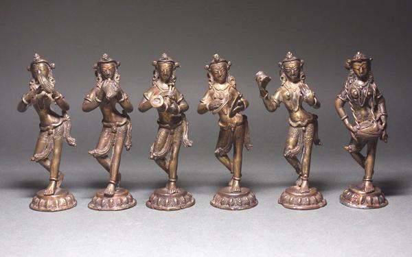 慶應◆チベット仏教文物 銅造菩薩立像六体 台座付