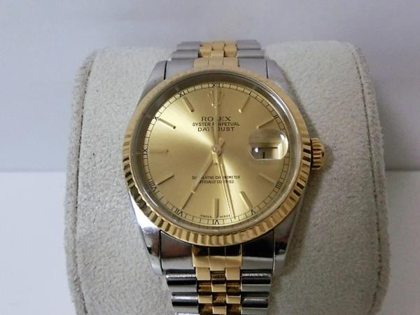 ロレックス 16233 P番 デイトジャスト メンズ 腕時計 自動巻き SS/K18YG ギャラ有 シャンパンゴールド文字盤☆ROLEX☆【中古】 bt1050