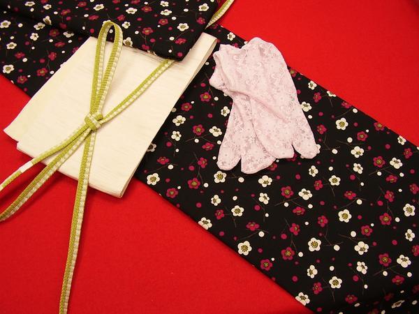 ☆オリジナル製レトロ木綿着物 小梅 黒地 現品限り_着物のみの出品です