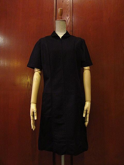 ビンテージ70's★丸襟半袖ワンピース黒★60's80's古着屋卸レトロひざ丈ブラックシンプル_画像1
