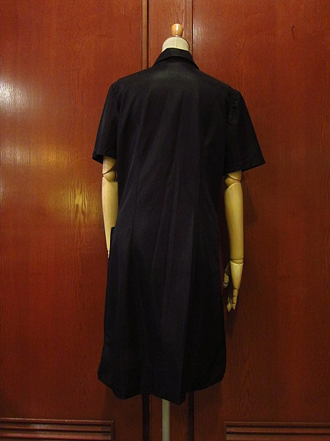 ビンテージ70's★丸襟半袖ワンピース黒★60's80's古着屋卸レトロひざ丈ブラックシンプル_画像2