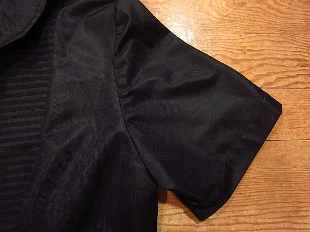 ビンテージ70's★丸襟半袖ワンピース黒★60's80's古着屋卸レトロひざ丈ブラックシンプル_脇に多少色褪せあり