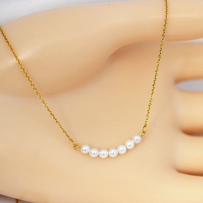 新品 金属アレルギー対応 真珠 小粒 ベビーパール デザイン ネックレス_画像1