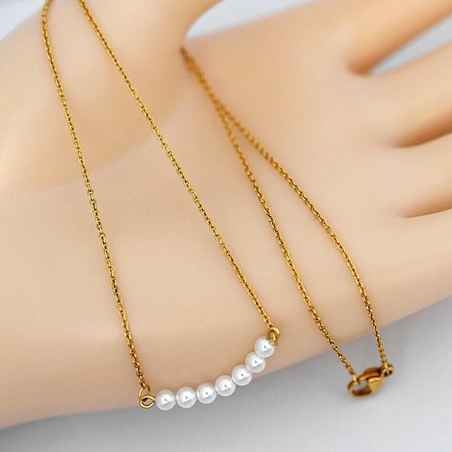 新品 金属アレルギー対応 真珠 小粒 ベビーパール デザイン ネックレス_画像3