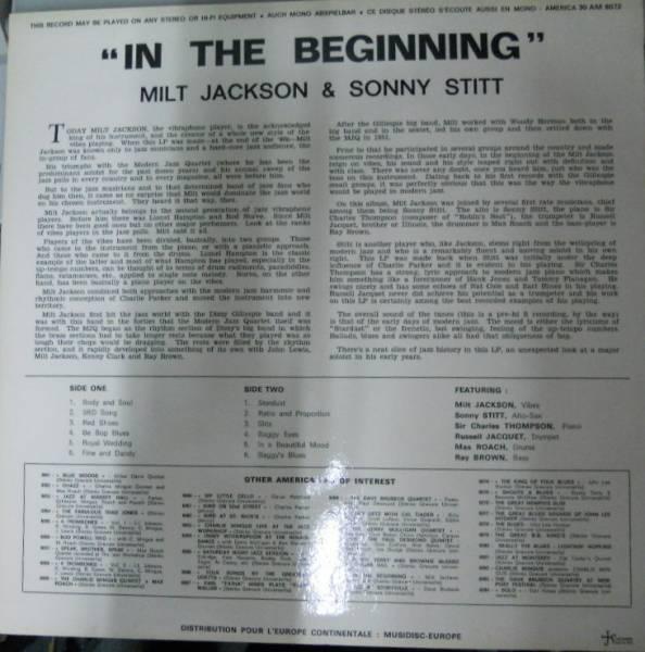 222880 MILT JACKSON, SONNY STITT / In The Beginning(LP)_画像3