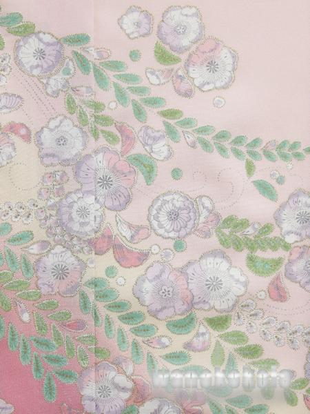【和の志】洗える着物◇付下・単衣○L◇ピンク系・辻が花◇252_画像2