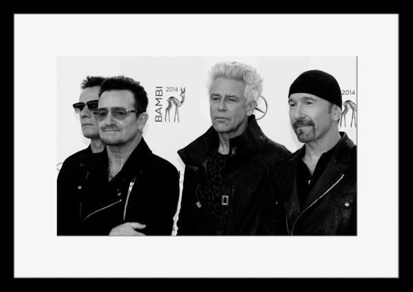 BW:人気ロックバンド!ユートゥー/U2/モノクロ写真フレーム-5
