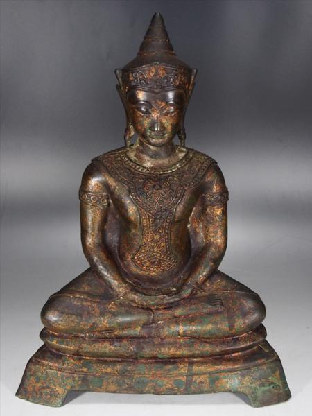 【治】時代鍍金銅製 チベット 仏像☆高さ34cm 銅像 置物 HW63