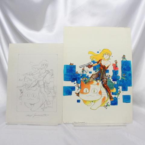 【マンガ図書館Z】山本貴嗣先生「コミックガイア7号表紙」カラー原画&ラフ画 rfp1075