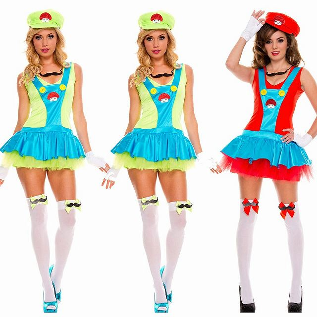 スーパーマリオ ルイージ コスプレ衣装 ハロウィン 服 レッド M グッズの画像