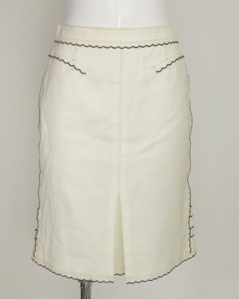 値下げ! ヴィトン LOUIS VUITTON 白×黒トリミングスカート36_画像1