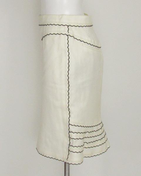 値下げ! ヴィトン LOUIS VUITTON 白×黒トリミングスカート36_画像2