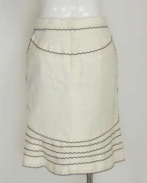 値下げ! ヴィトン LOUIS VUITTON 白×黒トリミングスカート36_画像3
