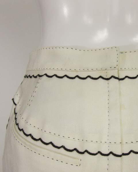 値下げ! ヴィトン LOUIS VUITTON 白×黒トリミングスカート36_画像4