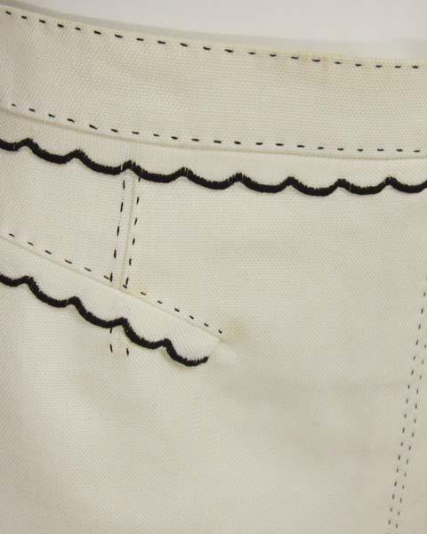 値下げ! ヴィトン LOUIS VUITTON 白×黒トリミングスカート36_画像5