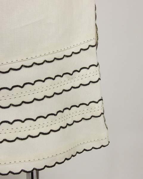 値下げ! ヴィトン LOUIS VUITTON 白×黒トリミングスカート36_画像6